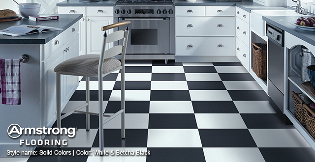 Armstrong Luxury Vinyl Tile. Style Name: Solid Colors | Color: White & Betcha Black.